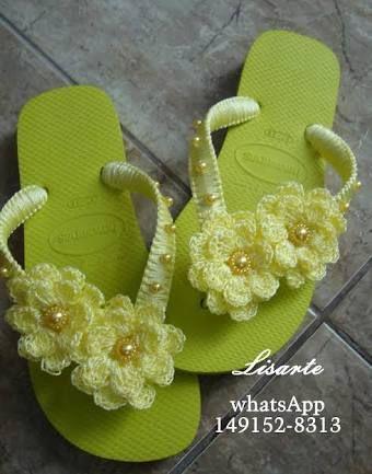 Resultado de imagem para chinelos decorados com croche