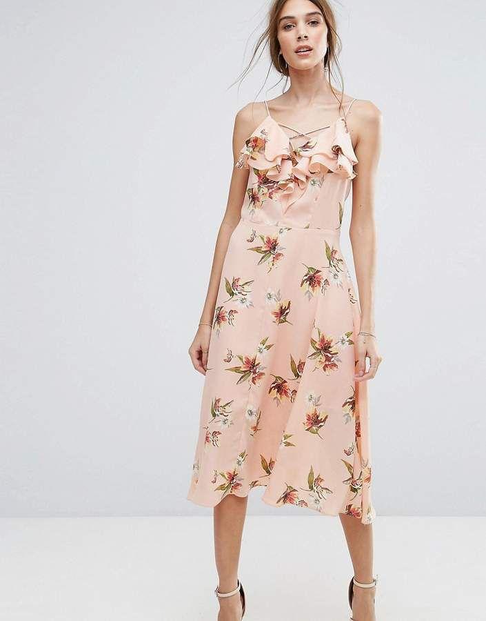 New look pink floral midi dress