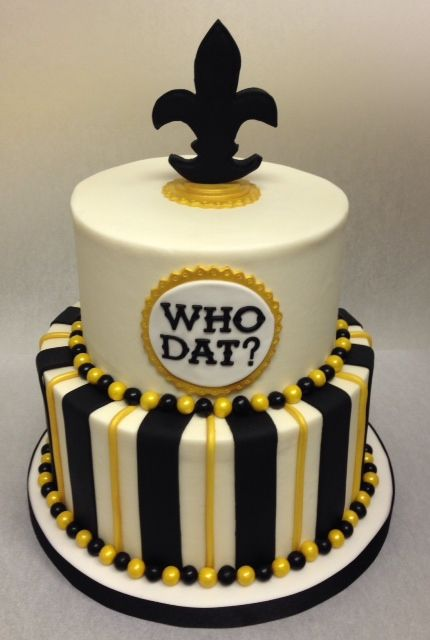New Orleans Saints Cake Who Dat Black Gold With Fleur De Lis