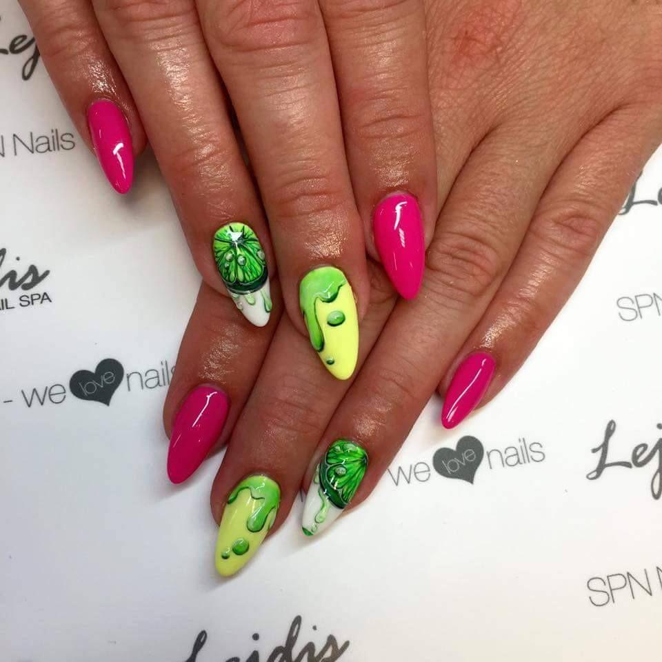 SPN: Lakiery hybrydowe UV LaQ 561 Night in miami, 624 Sour lemon, 502 My wedding dress Nails by Alesia, Lejdis, SPN Team Zielona Góra