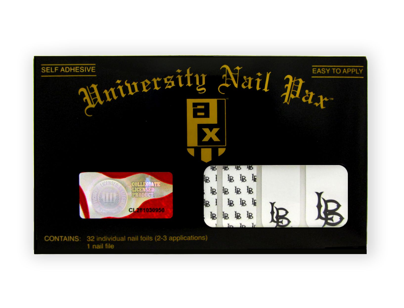 Long Beach State University - set includes 32 nail wraps and a nail file.  Buy them today at www.shopunp.com - $12.00.