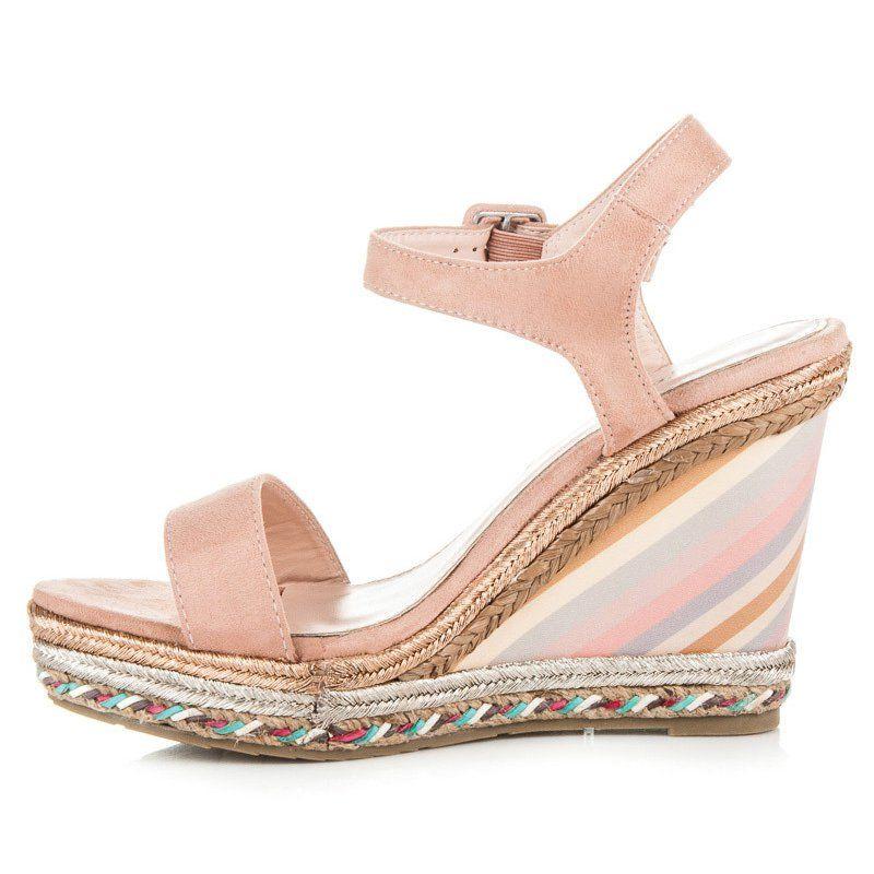 Seastar Letnie Buty Na Koturnie Rozowe Shoes Sandals Fashion