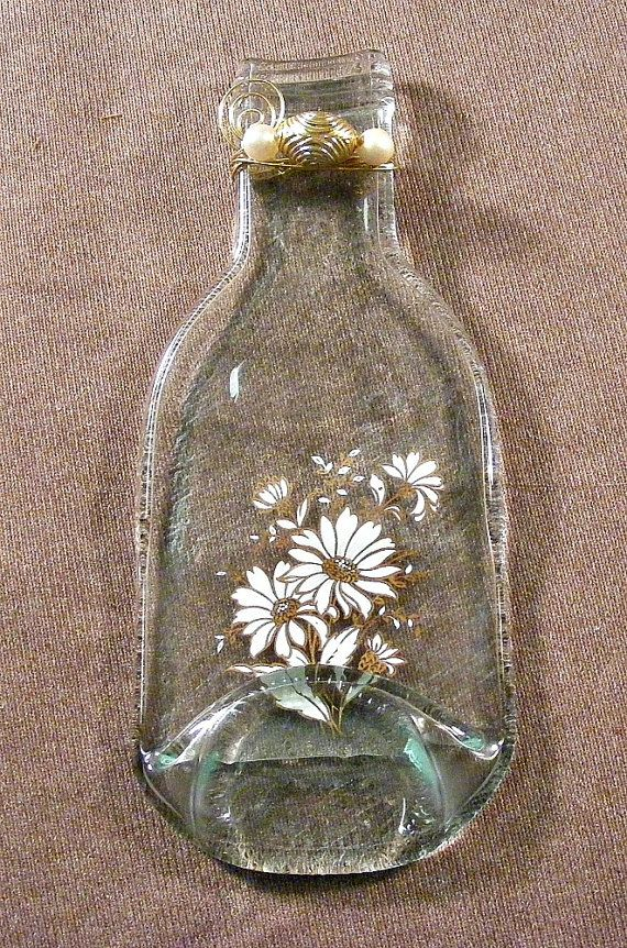 Spoon Rest Made From Clear Slumped Bottle Daisy Design Bead Wire Embellishment Great For Your Stove Or Countertop Uniq Bottles Decoration Handmade Bottle