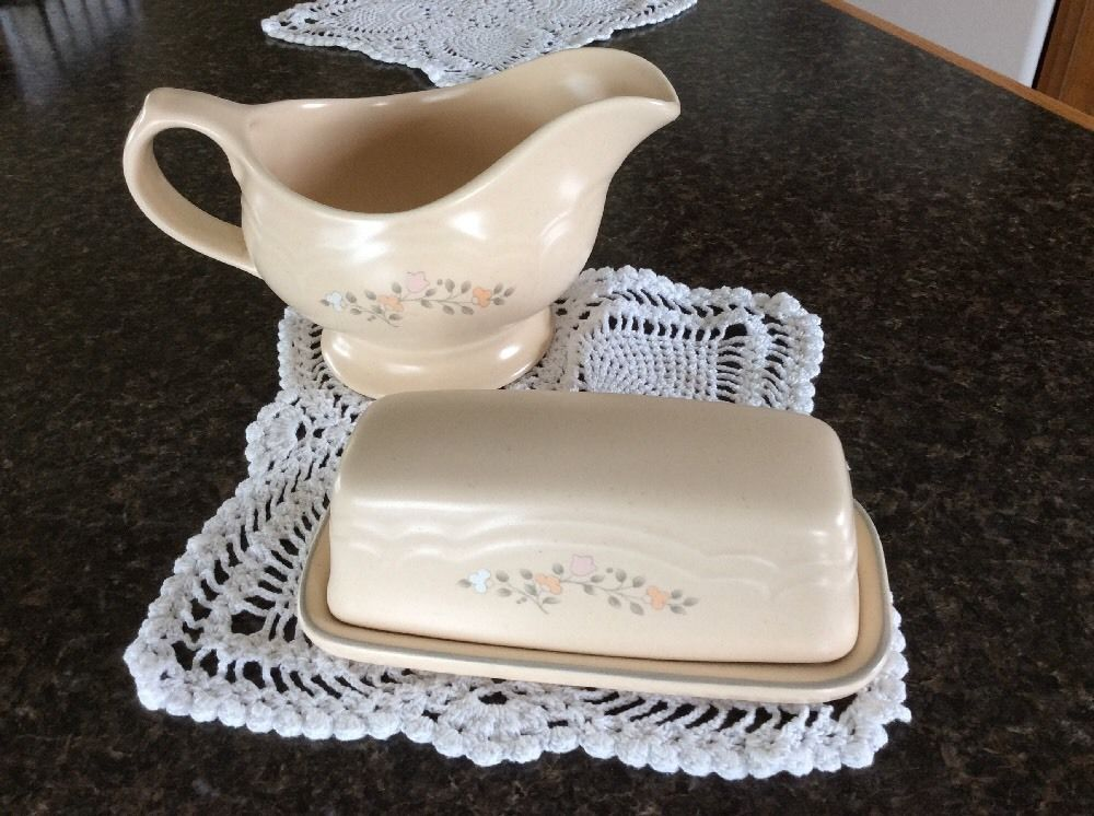 Pfaltzgraff Remembrance Butter Dish Gravy Boat Server Retired | eBay ...