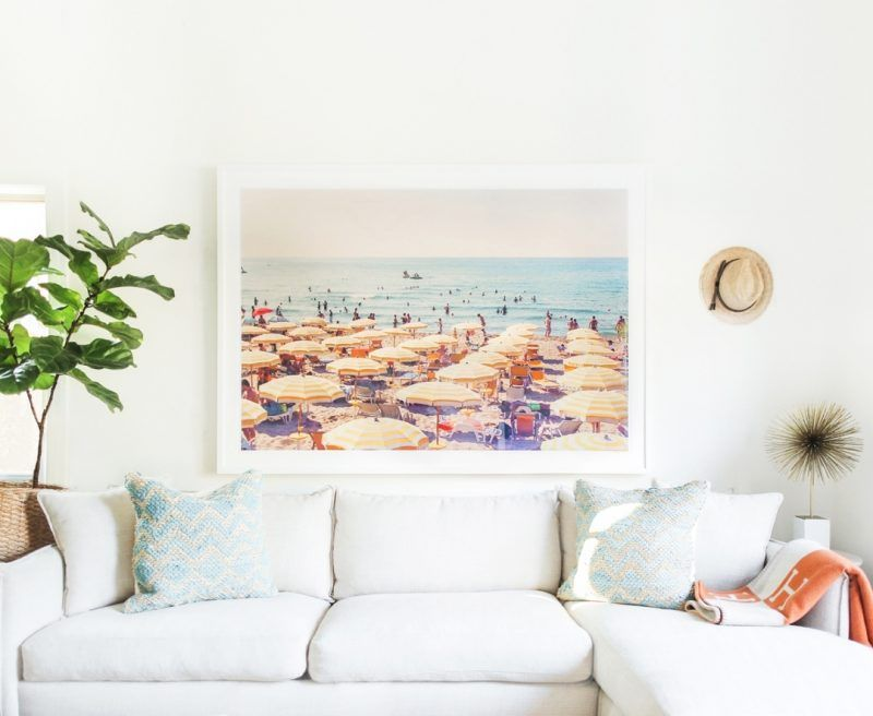 Nautical inspired living room with large Gray Malin art | Living ...