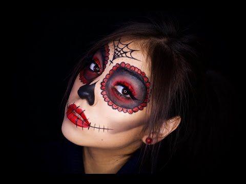 Easy Sugar Skull Day Of The Dead Makeup Tutorial For Halloween Shonagh Scott Halloween Makeup Sugar Skull Sugar Skull Makeup Tutorial Skull Makeup Tutorial