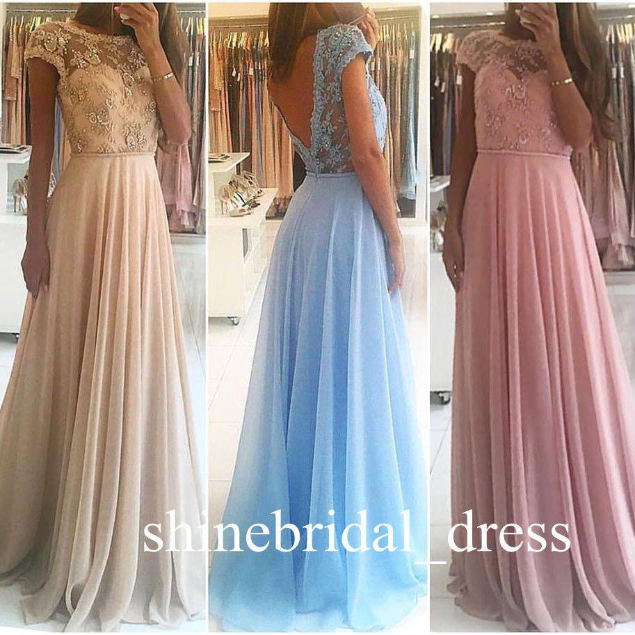 Cool awesome long bridesmaid dresses lace v back chiffon prom