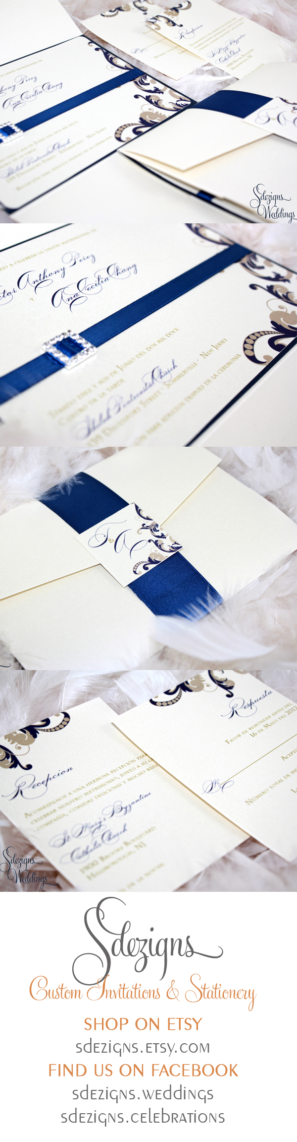 """The Ana"" - a gorgeous swirly invitation featuring a ribbon and buckle.  #invitations #weddings #nj"