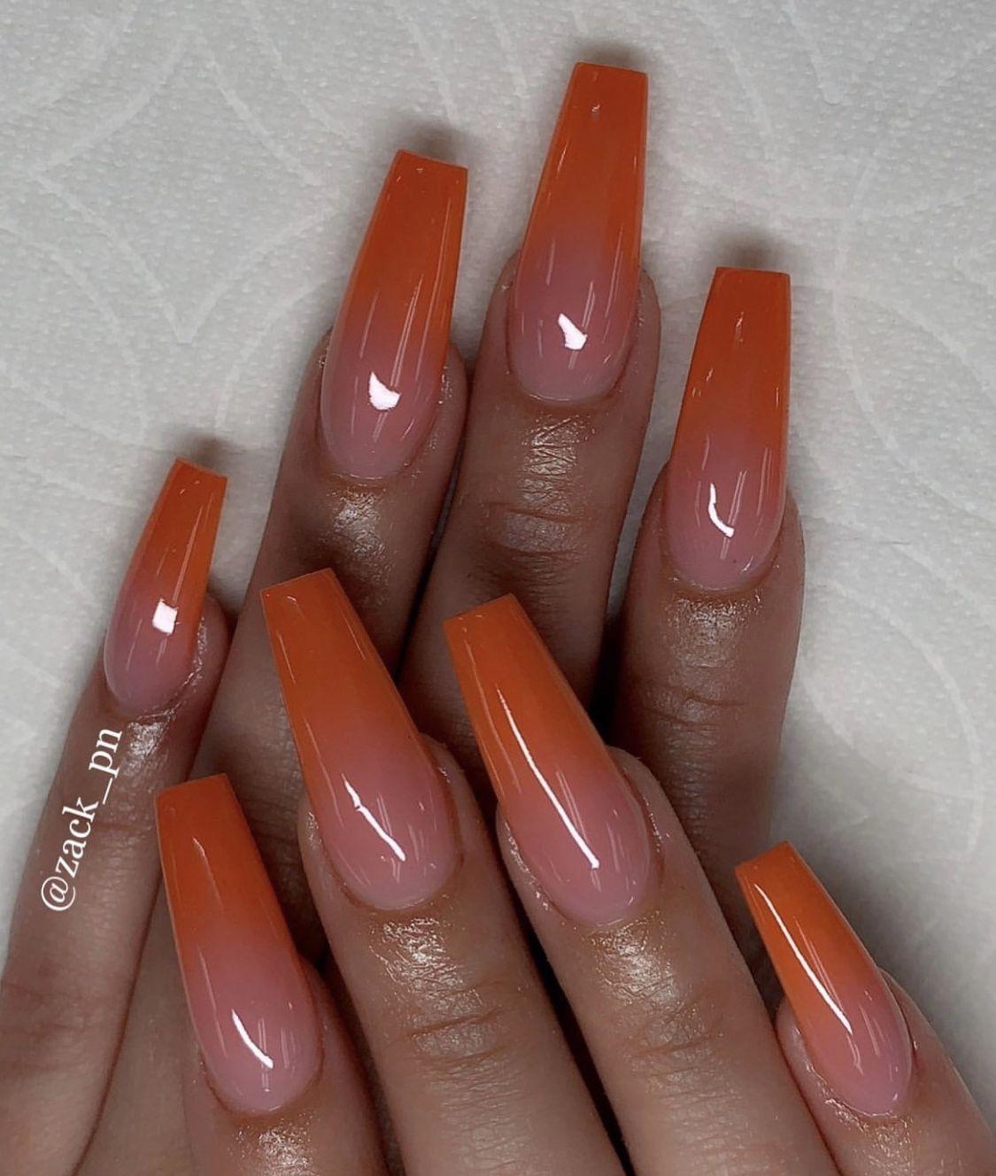 Burnt Orange Ombre Orange Acrylic Nails Fall Acrylic Nails Orange Ombre Nails