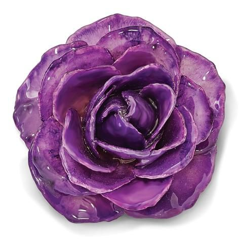 Lacquer Dipped Lilac Rose Blossom Pin