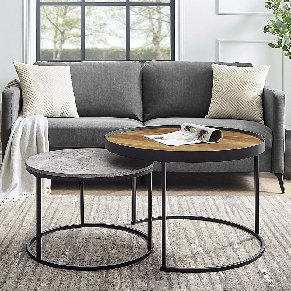 Forest Gate Farmhouse 2 Piece Round Nesting Coffee Tables Bed Bath Beyond Living Room Accent Tables Table Decor Living Room Living Room Table Sets [ 956 x 956 Pixel ]
