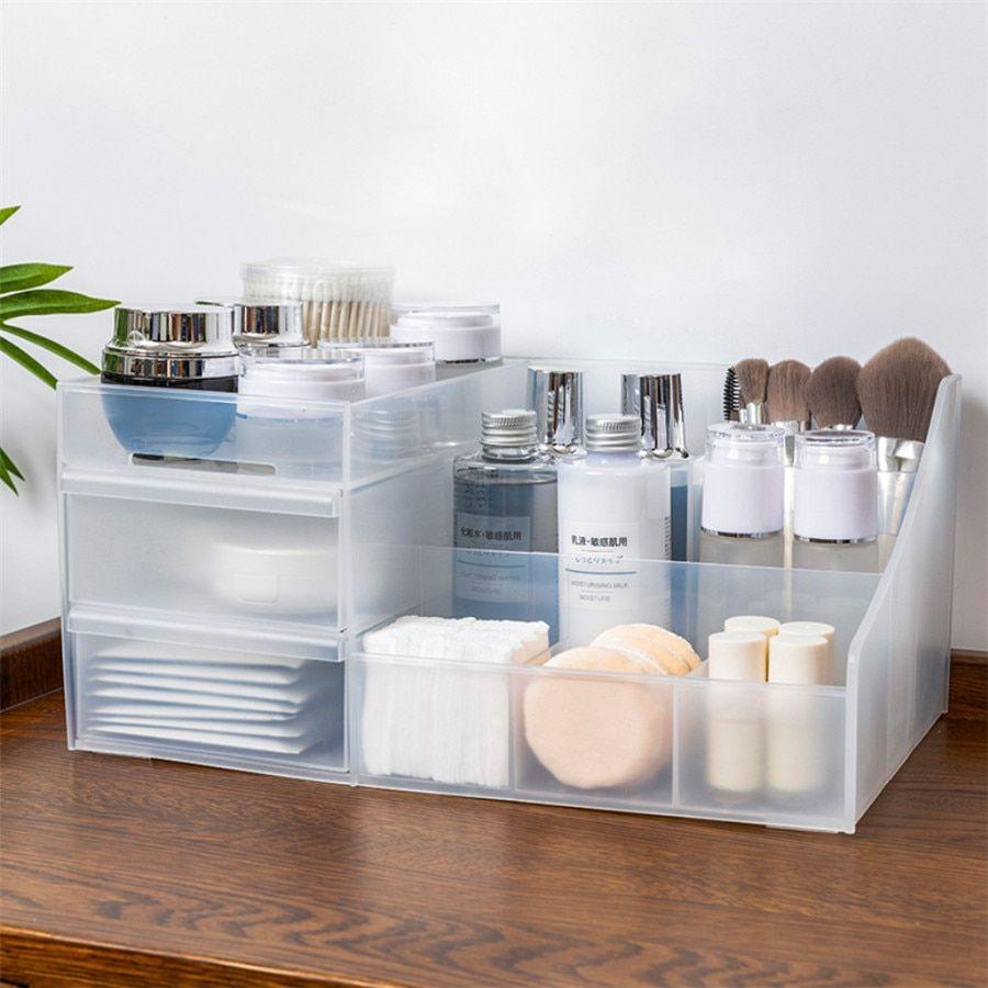 Plastic Makeup Organizer Two Layers Jewelry Box Cosmetic Organizer Makeup Box Lipstick Make In 2020 Cosmetic Storage Makeup Organization Vanity Diy Makeup Organization