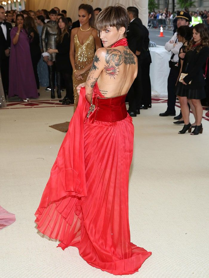 Ruby Rose wearing a Tommy Hilfiger red pleated dress with a velvet sash,  gold Jimmy Choo   crazy hot dresses in 2018   Pinterest 7b4e82cdb78