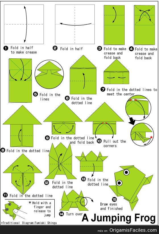Como Hacer Una Rana En Origami Buscar Con Google Istruzioni Origami Origami Semplici Origami Facili