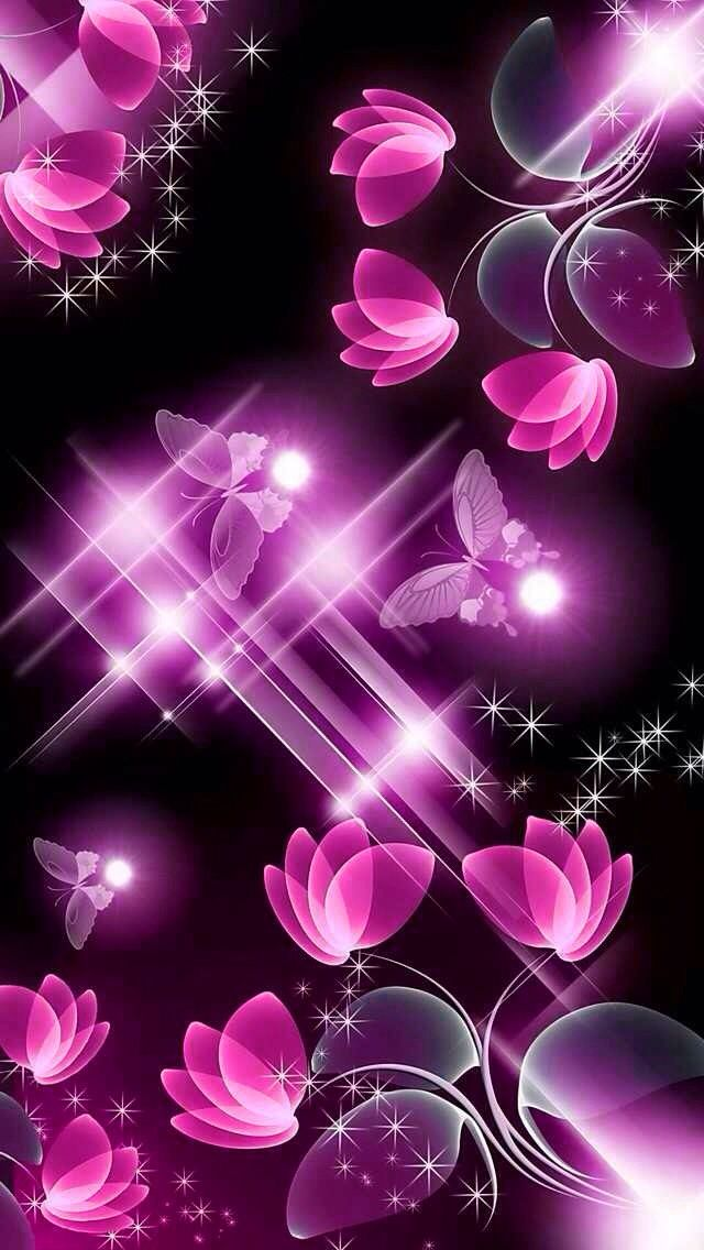 Pink And Black Flowers With Butterfly With Images Purple