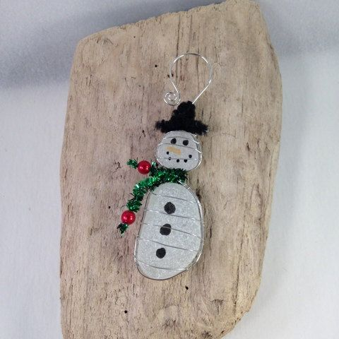 Sea Glass Snowman Sea Glass Ornament by vroberts1017 on Etsy