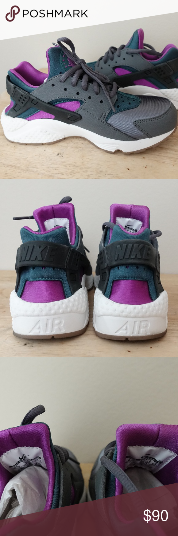 75c030cf44a5 Nike Women s Huarache Run Dark Grey Teal Sneakers Nike Women s Huarache Run Dark  Grey Teal Sneakers 6.5 - Worn once but these are too small on me ...
