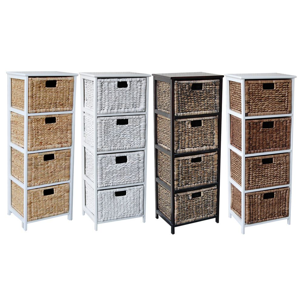 Exceptionnel LOXLEY 4 RATTAN WICKER TALLBOY DRAWER WOODEN STORAGE CHEST   Choice Of  Colours