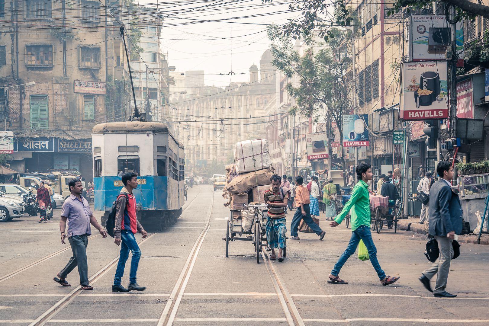 Busy Tram Lines Kolkata Tea Abroad By Jamie Ahmad Street