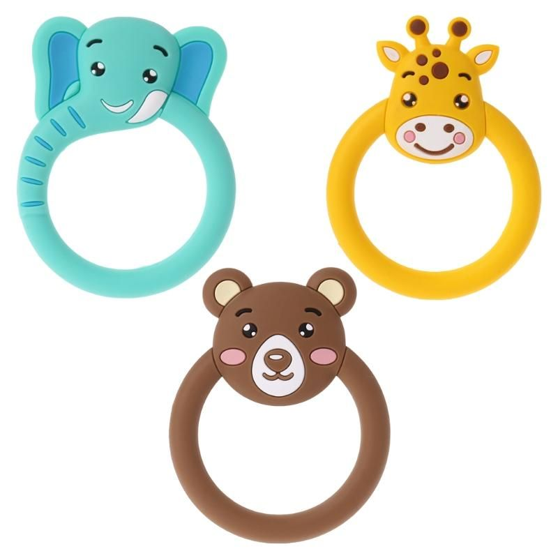 Baby Teether Toddler Silicone Teething Toy Ring Cartoon Animal Chewable Soother