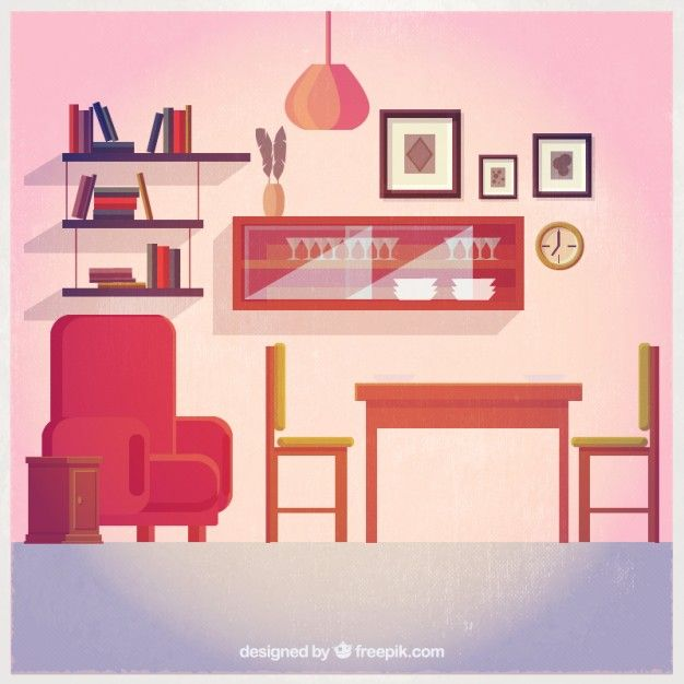 Cute Living Room Decoration Free Vector