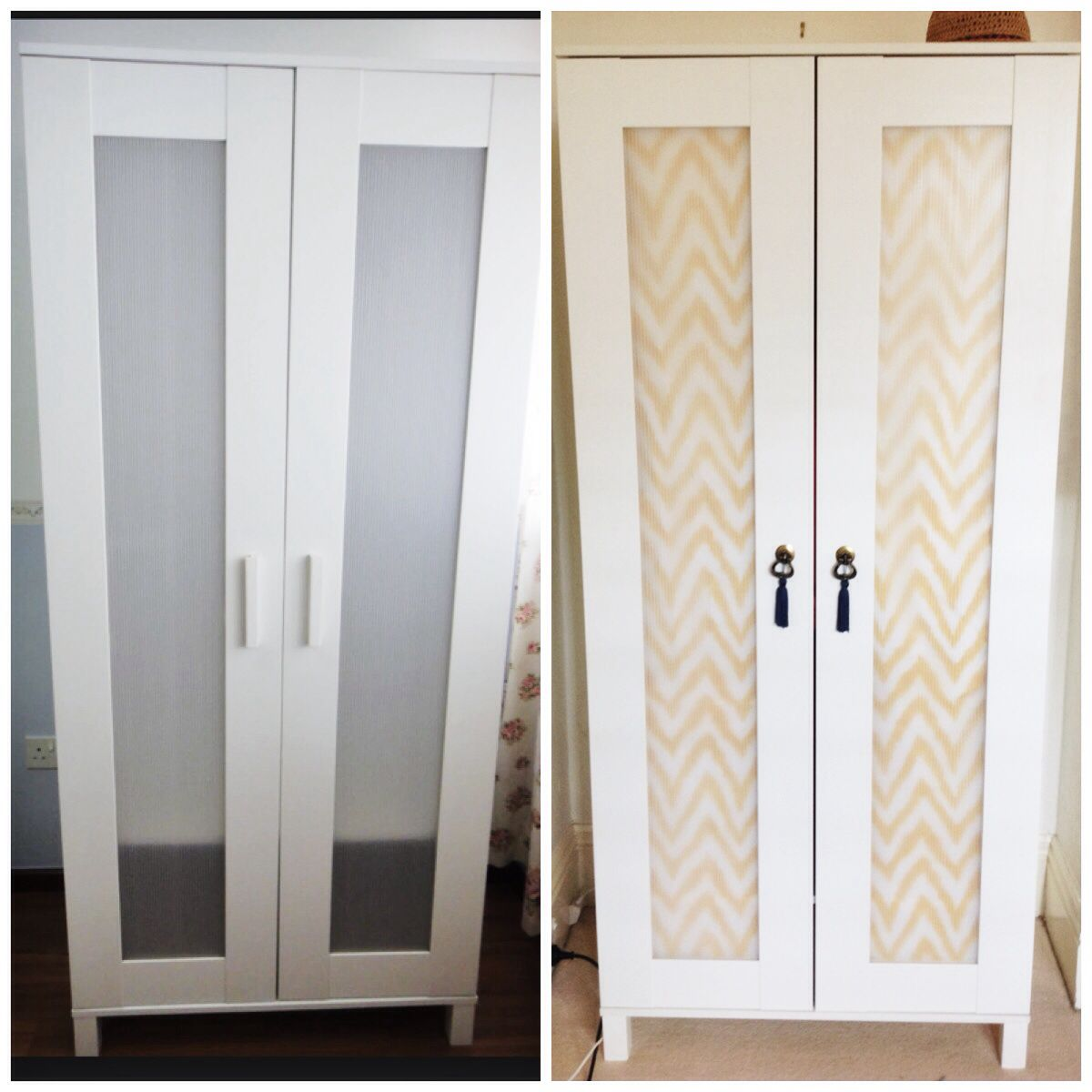 Budget Ikea hack complete - Aneboda wardrobe. Fabric from www ...