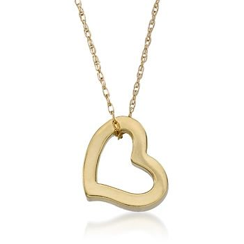 """14kt Yellow Gold Open Heart Pendant Necklace. 18"""""""
