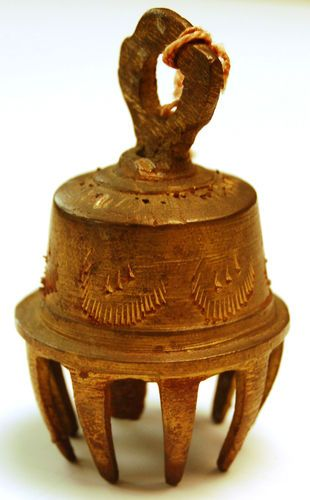 Vintage Elephant Bell Of Sarna India Etched Brass With