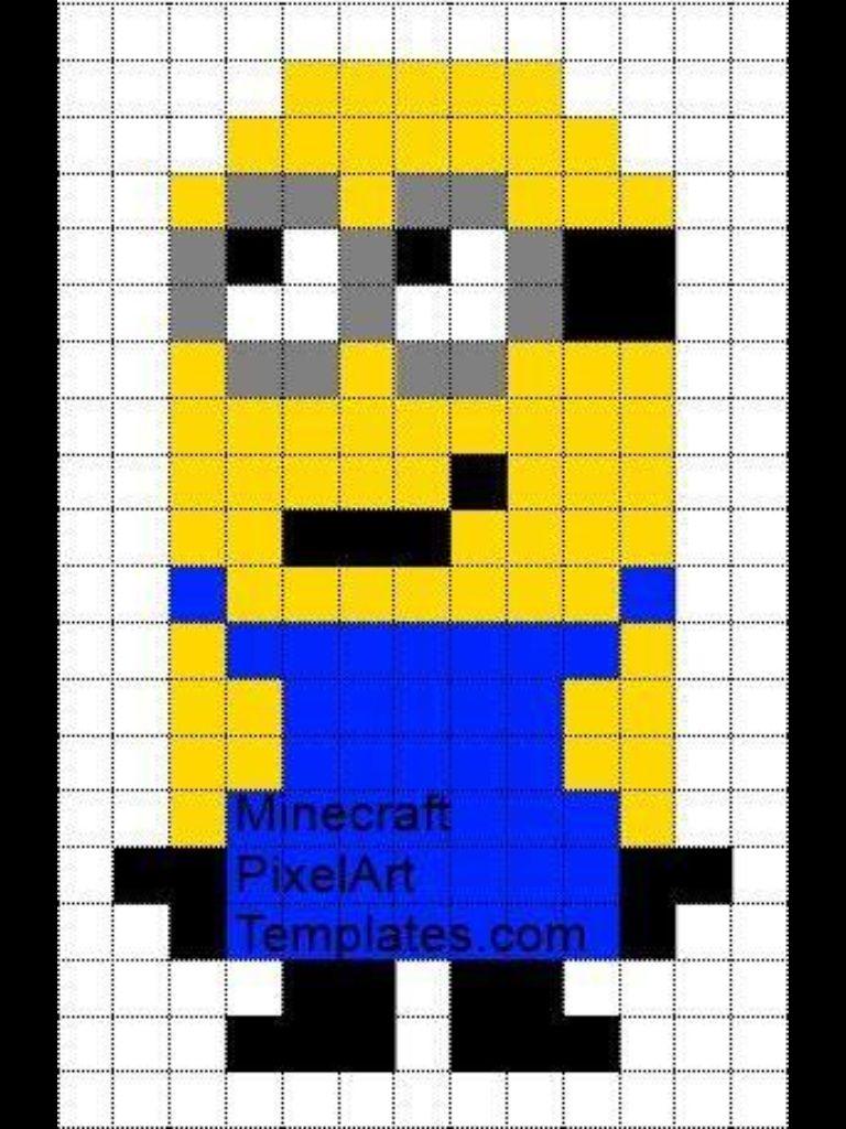Minion Minecraft Pixel Art Easy Pixel Art Pixel Art