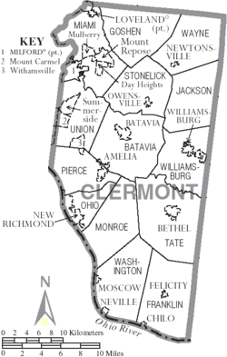 Map Of Townships In Clermont County Ohio Wikipedia