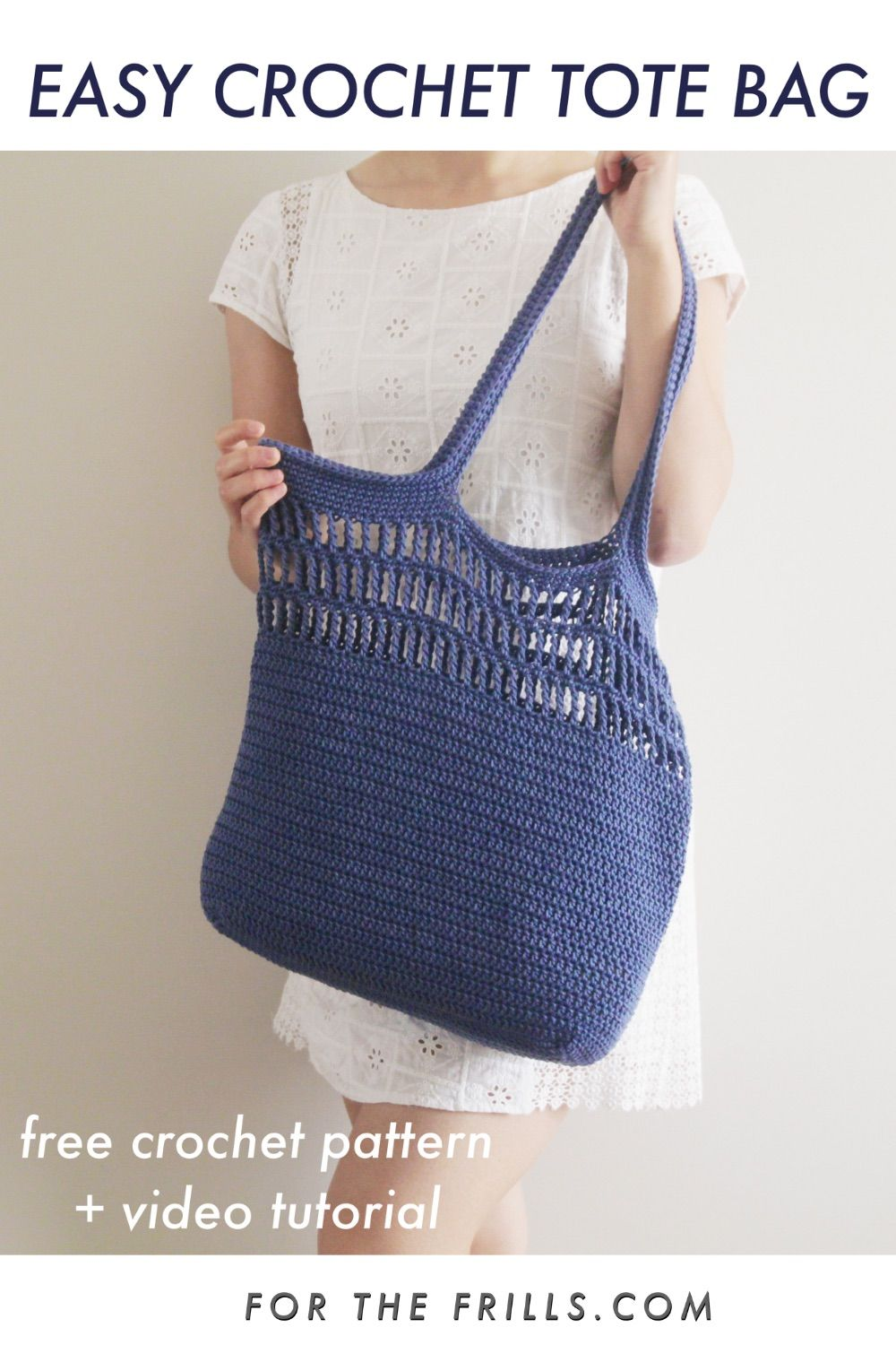 Easy Crochet Summer Tote Bag - patrón de ganchillo gratis + video tutorial