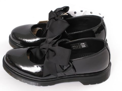 Dr Martens Black Patent Mariel Mary Jane Bow Shoes