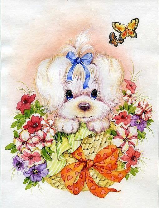 Картинки, собачка с цветами картинки нарисованные