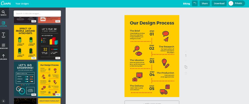 شرح طريقة عمل انفوجرافيك اونلاين على موقع Canva بالصور القبعة الخضراء Letting Go Design Let It Be
