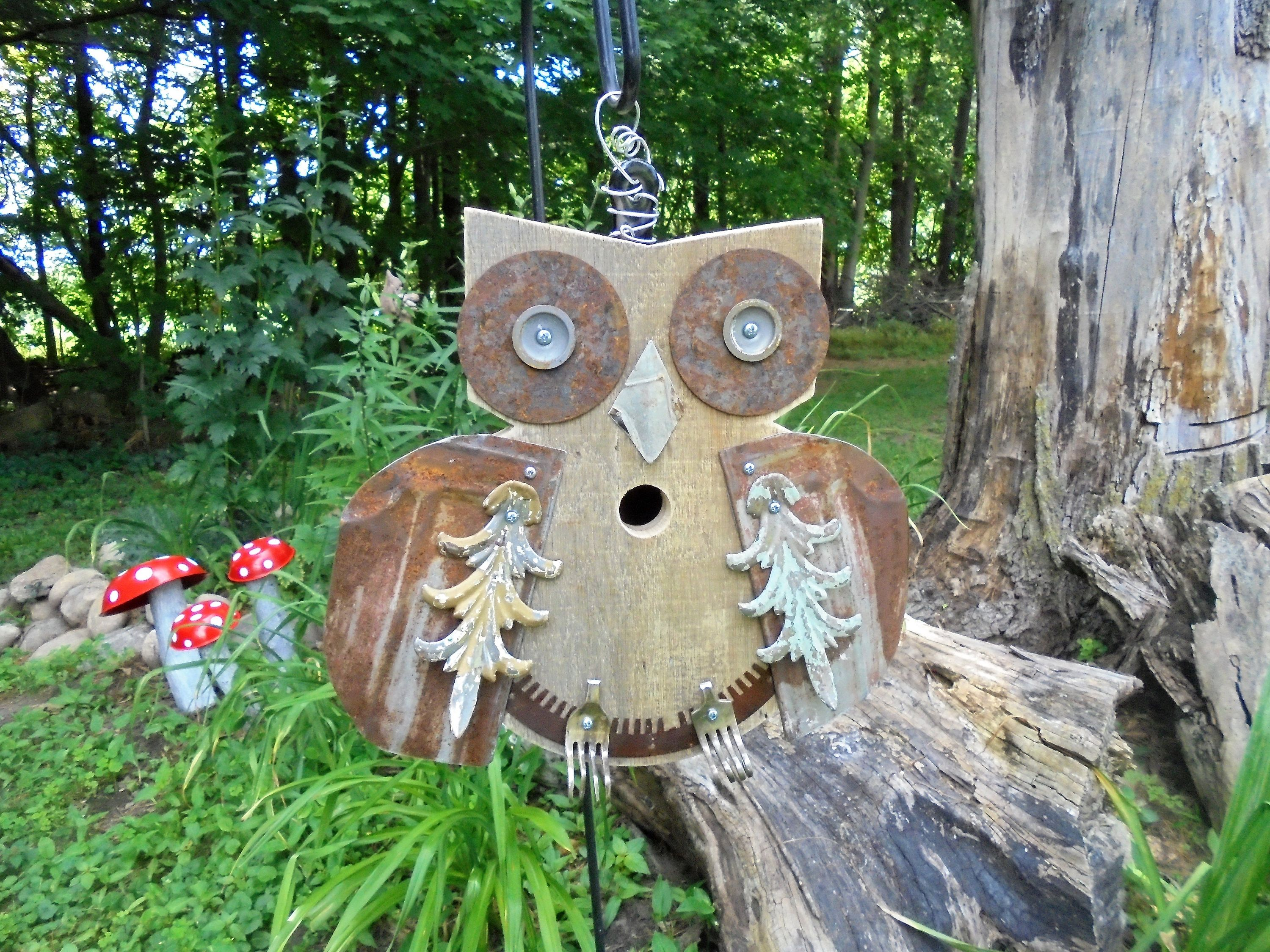 OOAK Rustic Birdhouse, Owl Assemblage Birdhouse,Mixed Media Upcycled ...