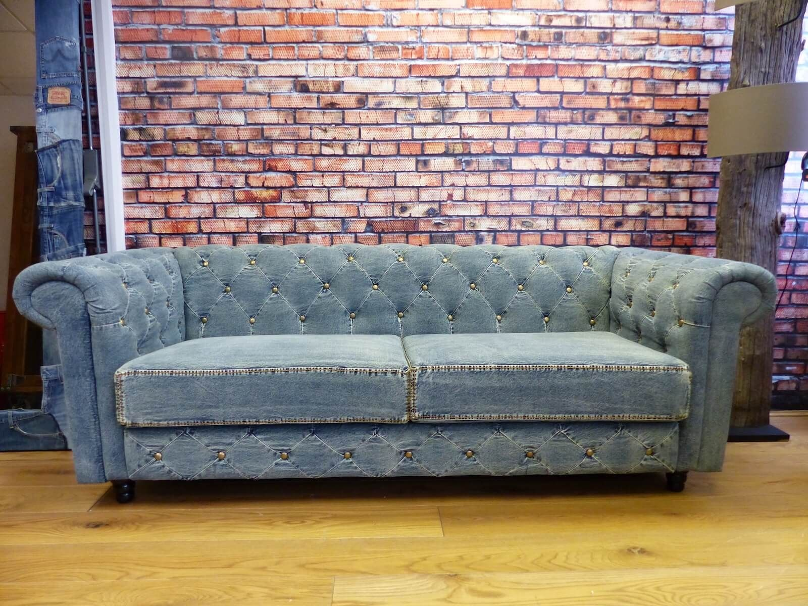 Blue Denim Chesterfield Sofas   Blue Vintage Couch Made ...