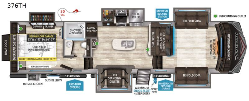 New 2020 Grand Design Momentum 376th Toy Hauler Fifth Wheel At
