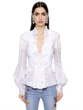 57aefa195b1d ermanno scervino - donna - camicie - camicia in pizzo di cotone con ricami