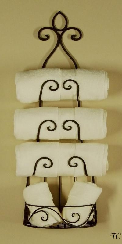 Attractive WROUGHT IRON Wall WINE RACK Tuscan TOWEL HOLDER