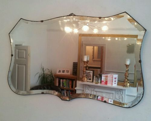 Vintage Beveled Mirror Art Deco 1930's Retro Frameless Antique