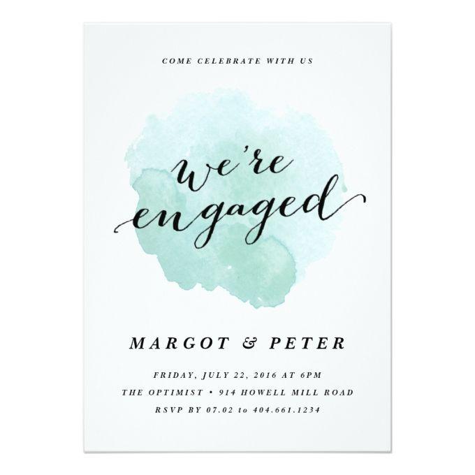 Watercolor spotlight Engagement Party Invitation Zazzle