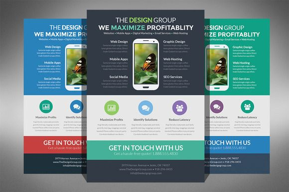 Flat Design Business Flyer | Business Flyers, Flat Design And