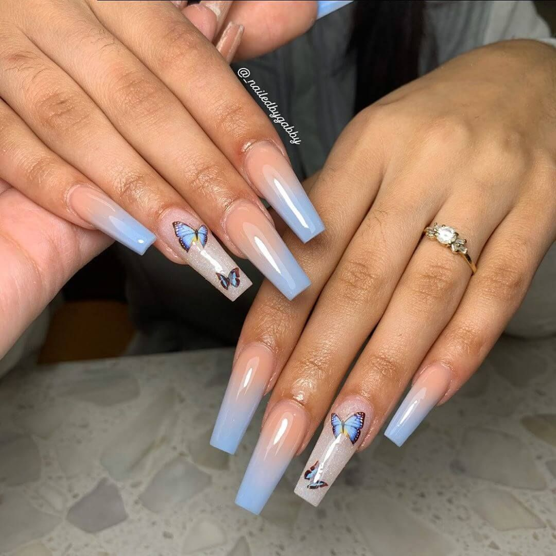 Pink Butterfly Nail Art and Glitter in 2020 | Blue ombre ...