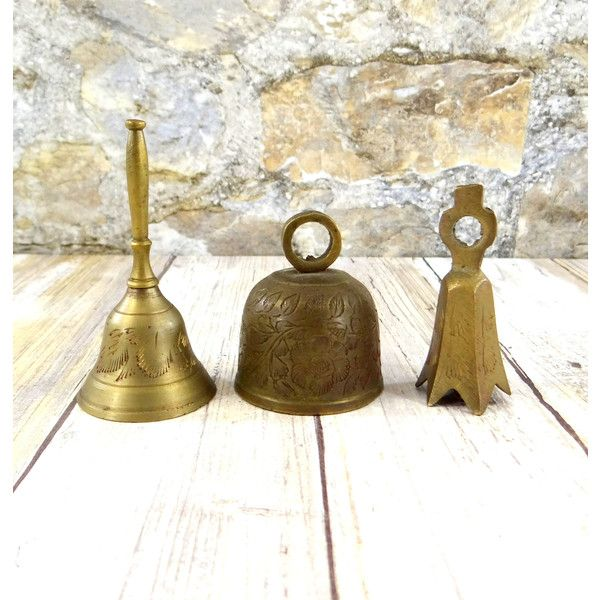 Small Decorative Bells Inspiration Vintage Brass Bells Set Of Three Small Etched Brass Bells $22 Review