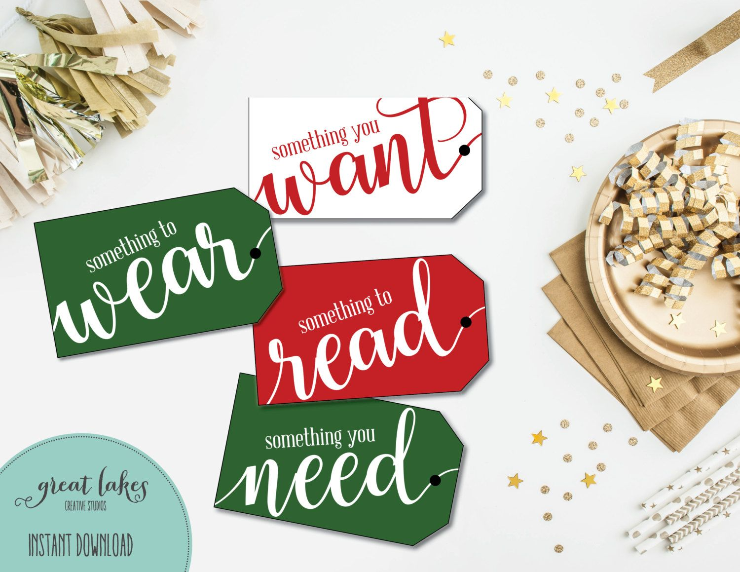 Christmas Gift Tags Something You Want Something You Need Etsy Printable Holiday Tags Christmas Gift Tags Holiday Tags