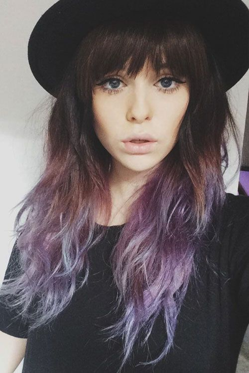 Wavy Brown And Purple Ombre With Bangs Hair In 2019 Hair Hair
