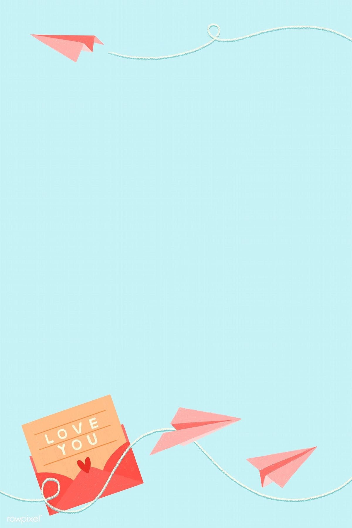 Download Premium Illustration Of Love Letter And Paper Plane Background Surat Cinta Ilustrasi Poster Ilustrasi