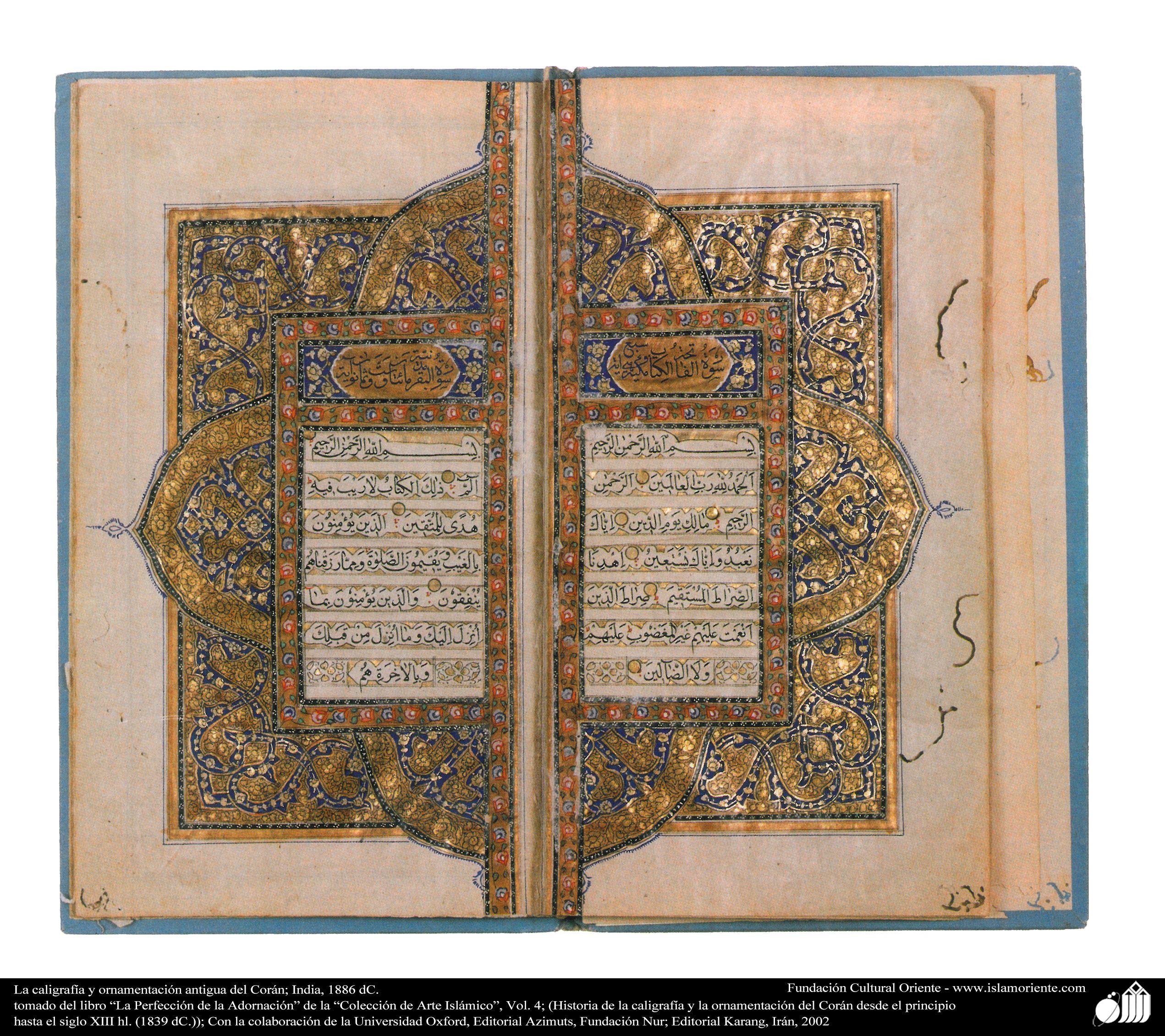La caligrafía y ornamentación antigua del Corán; India, 1886 dC ...