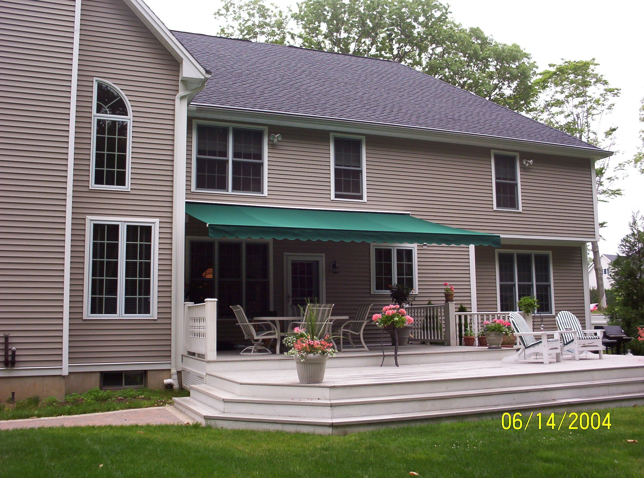 woonsocket window in navy fabric and awnings residential co awning island rhode by stripe beige rhodeisland long