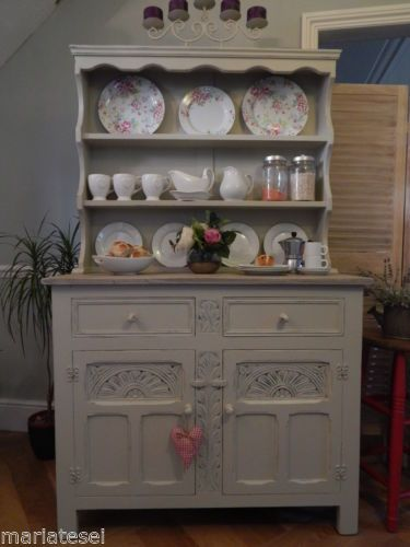 Vintage Shabby Chic Dresser Display Wall Unit Cupboard Drawers ...